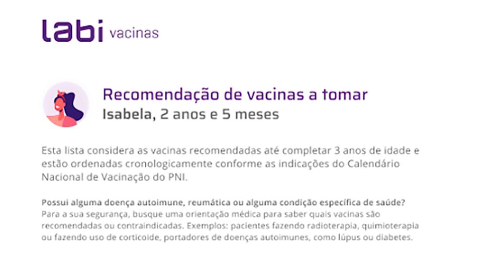 Laudo recomendação de vacinas